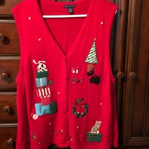 Red holiday sweater vest sz 1X